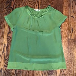 Green silk top